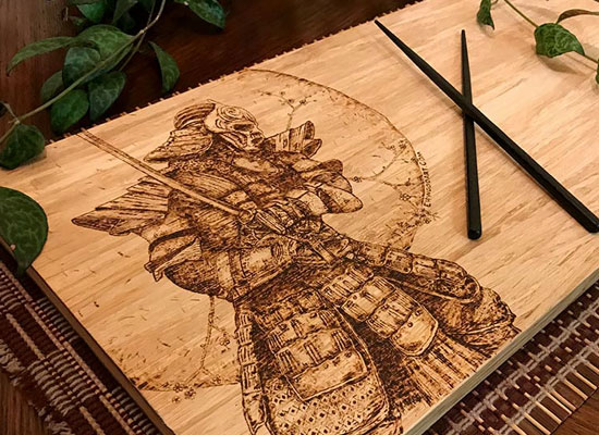 Custom cutting board pyrography by Tazboardspyro