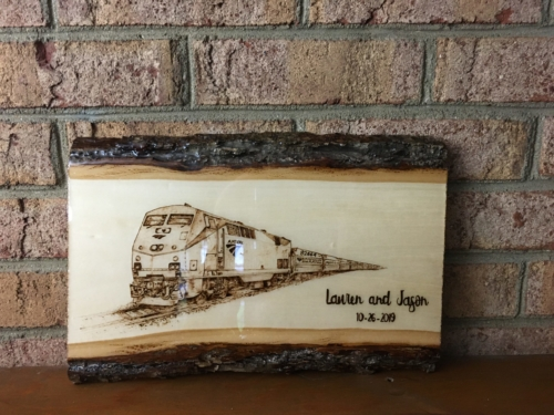 Custom Amtrak Train Pyrography by Tazboards Pyro