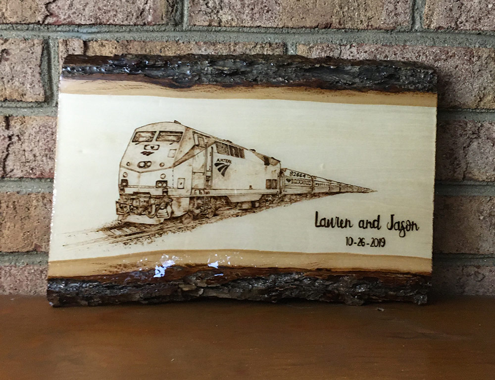 Tazboardspyro and a custom pyrography Train