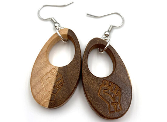 Wooden Black Lives Matter Earrings by Tazboards